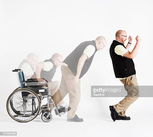 Disabled man rises from wheelchair, delighted, in composite multiple shot