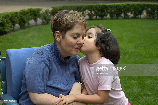 disabled mother with daughter