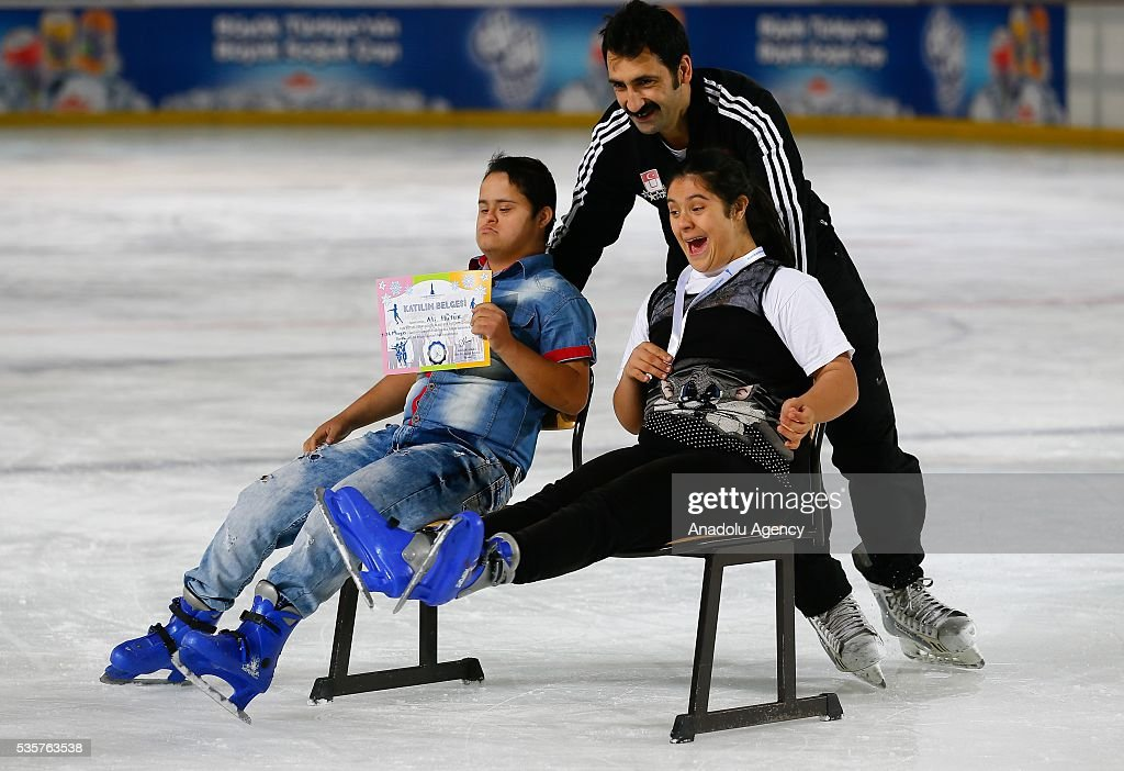 Disabled people try to learn ice skating at Bornova Amphitheatre Ask Veysel Recreation Area in Izmir, Turkey on May 26, 2016. Bornova Amphitheatre Ask Veysel Recreation Area is open every thursday for disabled people.