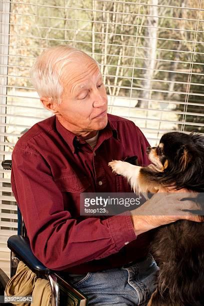 Disabled senior adult man. Wheelchair. Pet dog. Nursing home.