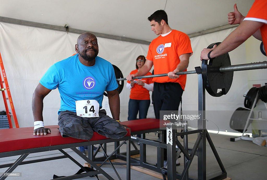 Disabled U.S. Army veteran Johnnie Alexander prepares to lift in the power lifting competition during day two of the inaugural Valor Games Far West at the College of San Mateo on June 12, 2013 in San Mateo, California. Dozens of disabled and wounded military veterans are participating in the inaugural 3-day Valor Games Far West that is open to any Veteran with a disability who is eligible for VA healthcare. The event is intended to introduce adapted sports to attendees.