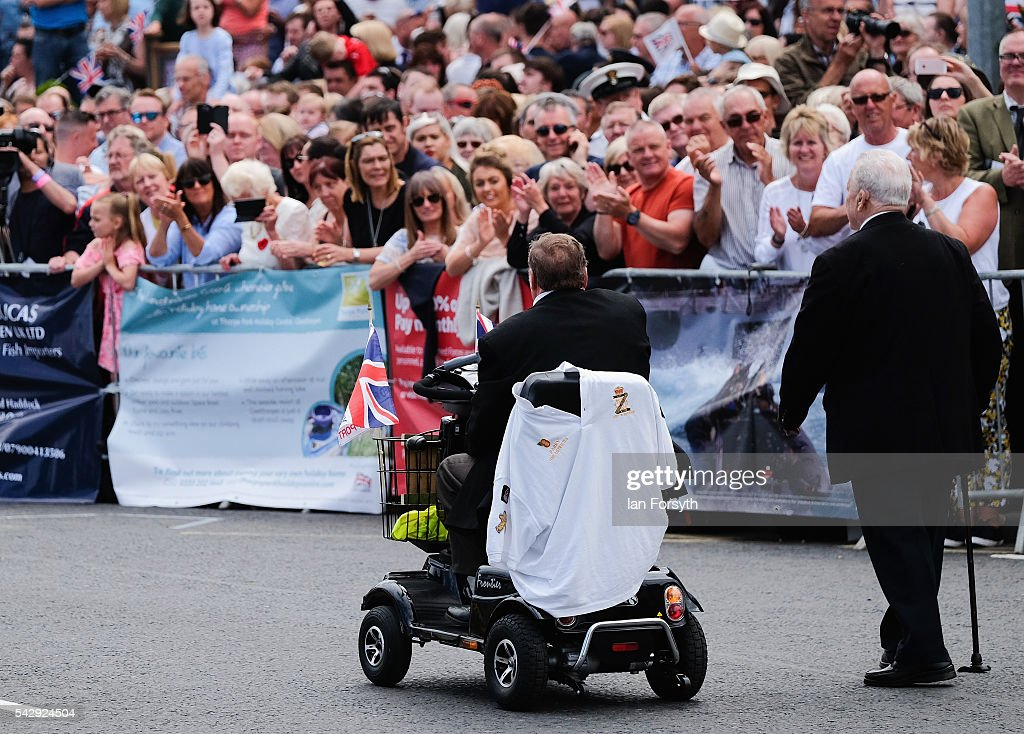 A disabled veteran takes part in the main military parade during the Armed Forces Day National Event on June 25, 2016 in Cleethorpes, England. The visit by the Prime Minister came the day after the country voted to leave the European Union. Armed Forces Day is an annual event that gives an opportunity for the country to show its support for the men and women in the British Armed Forces.