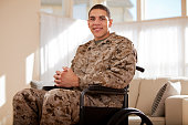 Disabled Veteran US Marine Soldier in Wheelchair