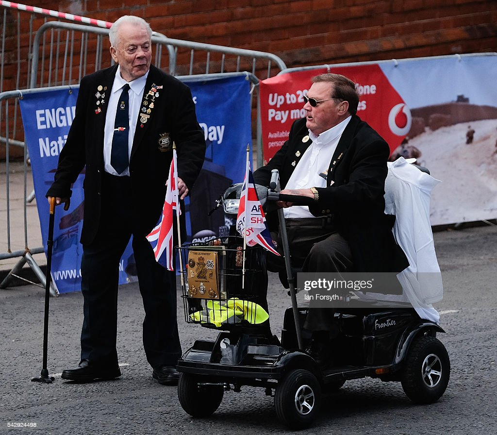 Disabled veterans take part in the main military parade during the Armed Forces Day National Event on June 25, 2016 in Cleethorpes, England. The visit by the Prime Minister came the day after the country voted to leave the European Union. Armed Forces Day is an annual event that gives an opportunity for the country to show its support for the men and women in the British Armed Forces.