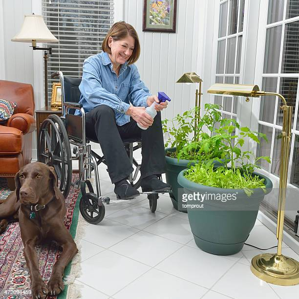Disabled Woman is Gardening Indoors