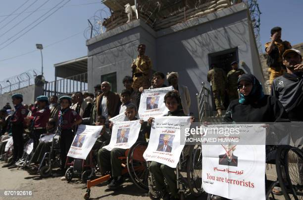 Disabled Yemenis take part in a 'protest for bread' march from the capital Sanaa to the coastal town of Hodeida on April 19 2017 outside the UN...