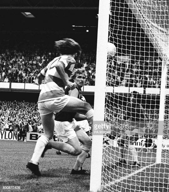 A disallowed goal headed in by Queens Park Rangers' Stan Bowles watched by West Ham United's Kevin Lock and goalkeeper Bobby Ferguson during a League...