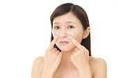 Woman dissatisfied with the skin care