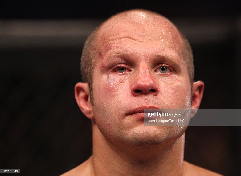 A disappointed Fedor Emelianenko stands in the cage after his loss to Dan Henderson by TKO in a heavyweight fight at the Strikeforce event at Sears...