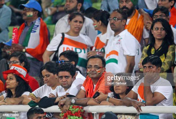 Disappointed Indian supporters look on during the presentations after the Final of the ICC World Twenty20 Bangladesh 2014 between India and Sri Lanka...