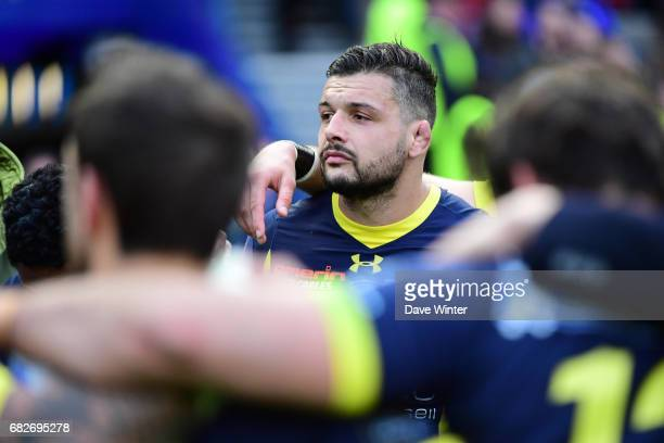 Disappointment for Damien Chouly of Clermont as his side loses the European Champions Cup Final match between Clermont Auvergne and Saracens at...
