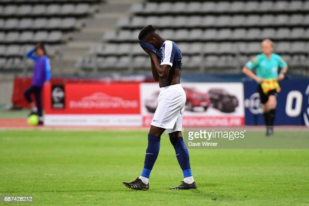 Disappointment for Demba Camara of Paris FC as they lose the Playoff match between Paris Fc and Us Orleans at Stade Charlety on May 23 2017 in Paris...