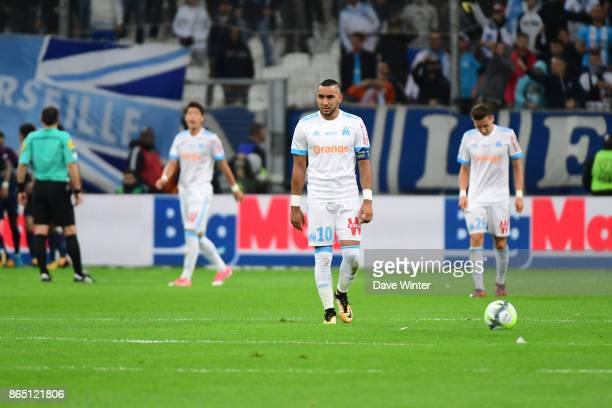 Disappointment for Dimitri Payet and Marseille during the Ligue 1 match between Olympique Marseille and Paris Saint Germain at Stade Velodrome on...