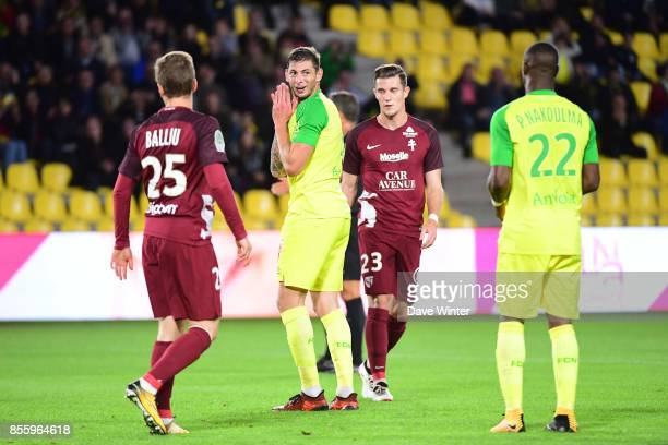 Disappointment for Emiliano Sala of Nantes as another chance goes begging during the Ligue 2 match between Paris FC and Nimes on September 29 2017 in...