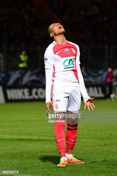 Disappointment for Guido Carrillo of Monaco as he shoots wide during the French National Cup match between Chambly and AS Monaco Round of 32 on...