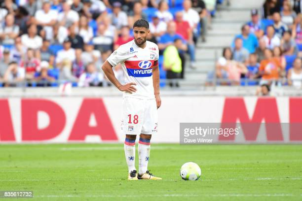 Disappointment for Nabil Fekir of Lyon as his side concede a late equaliser during the Ligue 1 match between Olympique Lyonnais and FC Girondins de...