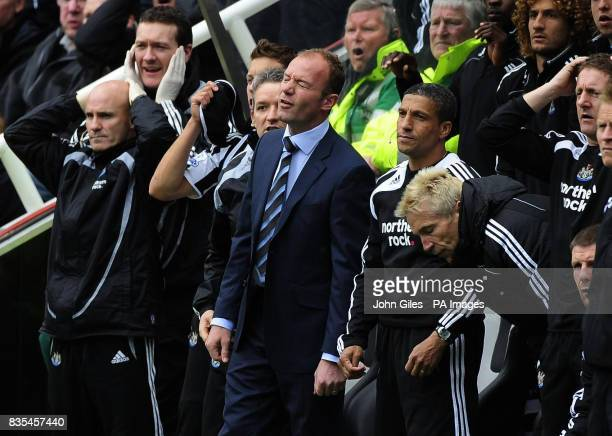 Disappointment for Newcastle Manager Alan Shearer and his bench as Fulham take the lead during the Barclays Premier League match at St James' Park...