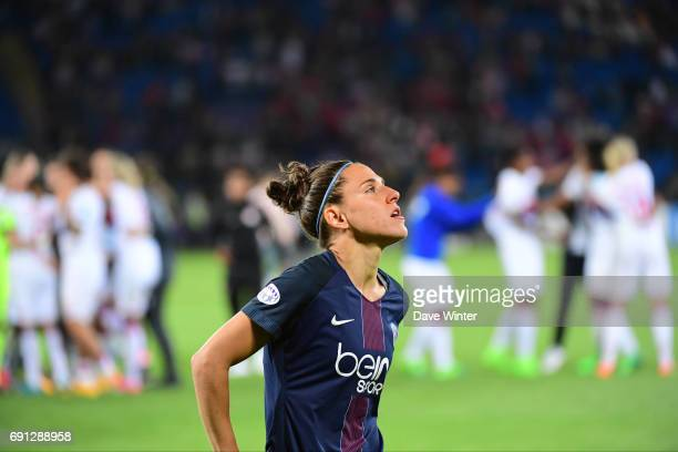 Disappointment for Veronica Boquete of PSG after her team loses the final of the UEFA Women's Champions League match between Olympique Lyonnais and...