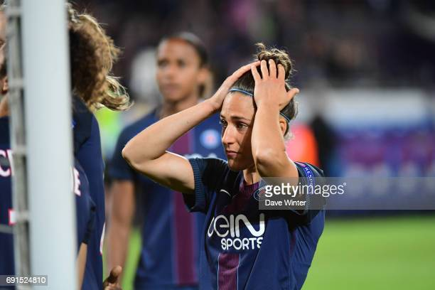 Disappointment for Veronica Boquete of PSG as her team loses the final of the UEFA Women's Champions League match between Olympique Lyonnais and...