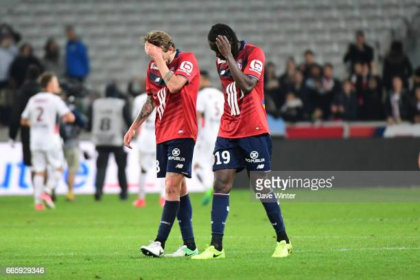 Disappointment for Xeka and Eder of Lille as they lose the French Ligue 1 match between Lille OSC and OGC Nice at Stade PierreMauroy on April 7 2017...