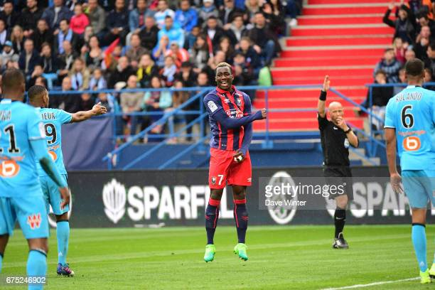 Disappointment for Yann Karamoh of Caen as his shot is saved during the French Ligue 1 match between Caen and Marseille at Stade Michel D'Ornano on...