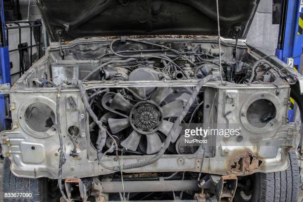 A Disassemble old gallopper wait for rust remove at mohenic garages yard in Paju South Korea A 20yearold beat up Hyundai SUV isn't anyone's idea of a...