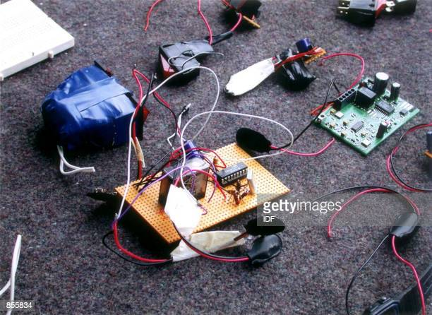 A disassembled detonator for a bomb was found by Israeli forces during a raid on a Hamas bomb factory January 22 2002 in the West Bank town of Nablus...