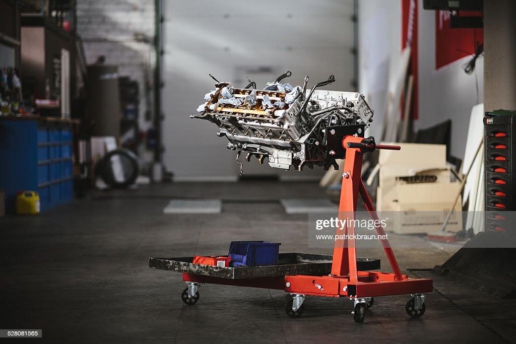 Disassembled engine