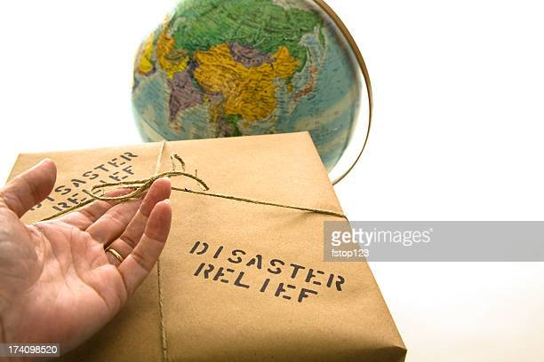 Disaster relief package. Globe background.