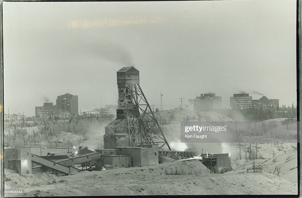 Disaster site Giant mine set against Yellowknife's skyline is still operating