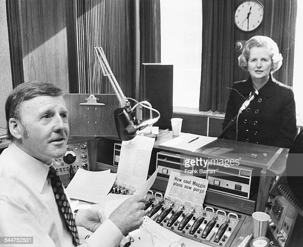 Disc jockey and broadcaster Jimmy Young talking to Leader of the Opposition Margaret Thatcher for a BBC Radio 2 interview London February 19th 1975