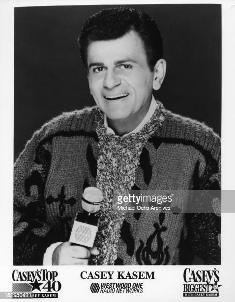Disc jockey TV personality and actor Casey Kasem host of 'Casey's Top 40' and 'Casey's Biggest Hits' poses for a Westwood One publicity still circa...