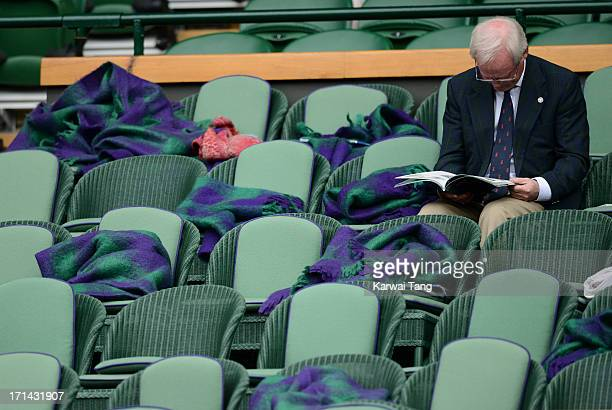Discarded blankets in the Royal Box during Day 1 of the Wimbledon 2013 tennis championships at Wimbledon on June 24 2013 in London England