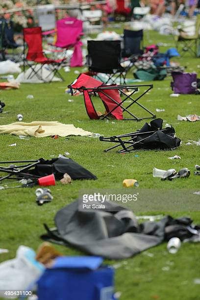 Discarded chairs lie on th eground at the 2015 Melbourne Cup Day at Flemington Racecourse on November 3 2015 in Melbourne Australia