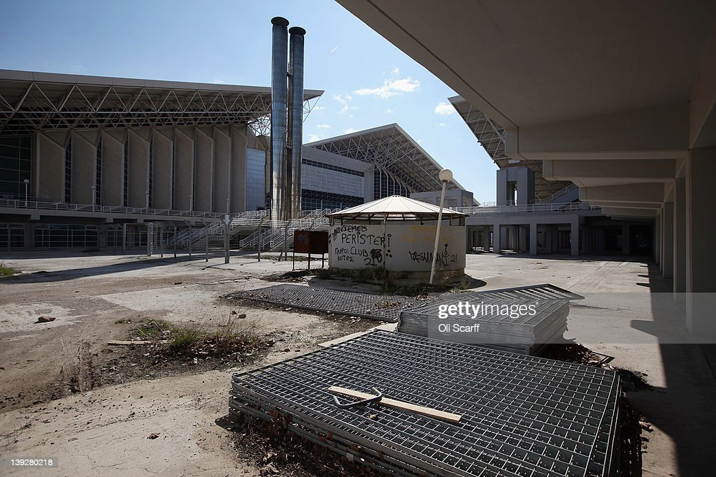 Discarded fencing outside the Olympic indoor pool and the OAKA sports hall in the 2004 Olympic Games Complex on February 18 2012 in Athens Greece In...