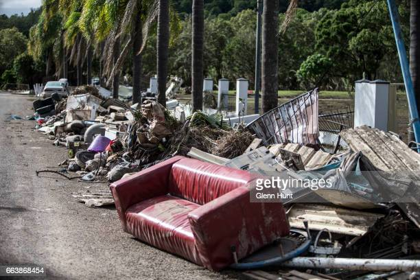 Discarded flood damaged belongings at Eagleby on April 3 2017 in Eagleby Australia Heavy rain caused flash flooding across south east Queensland and...