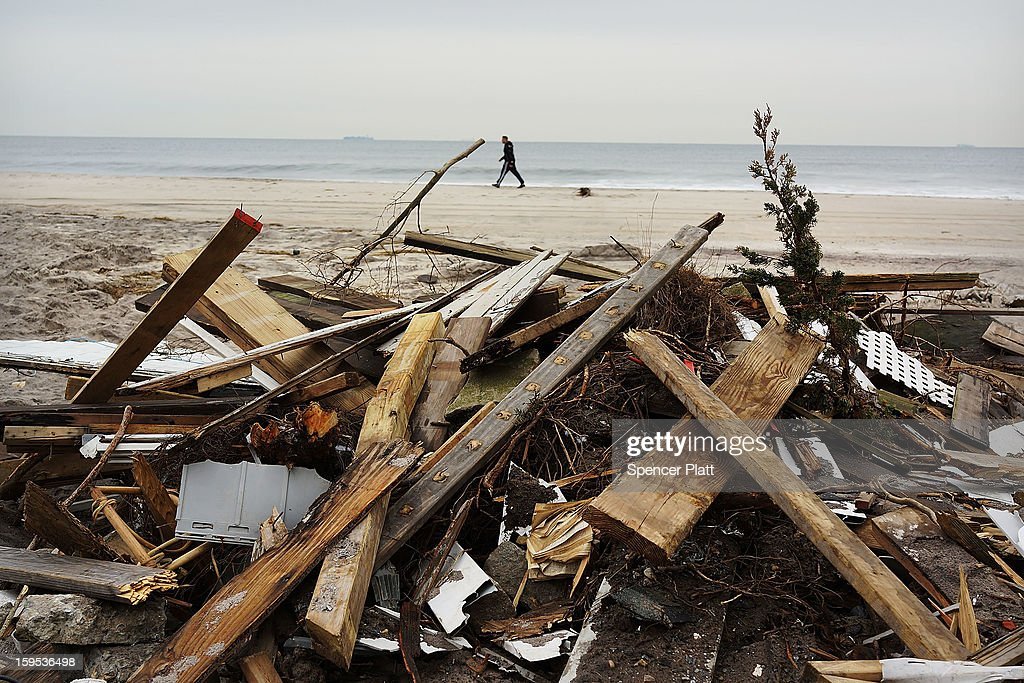 Discarded items from flood damaged homes after Hurricane Sandy sit along the beach in the Rockaways on January 15, 2013 in the queens borough of New York City. A $50.7 billion Superstorm Sandy aid package is expected to be voted on today in the House. The package, which has come under criticism by some fiscal conservatives, is being heavily pushed by Northeastern lawmakers. The money would be spent on immediate needs to the region including $5.4 billion for New York and New Jersey transit systems and $5.4 billion for the Federal Emergency Management Agency's disaster relief aid fund.