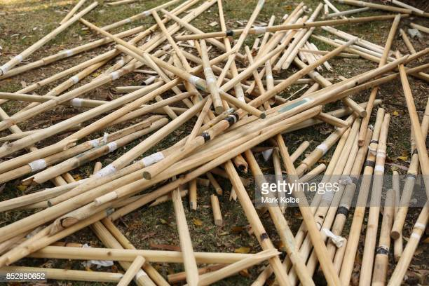 Discarded jousting sticks ae seen after competition in the World Jousting Championships on September 24 2017 in Sydney Australia The World Jousting...