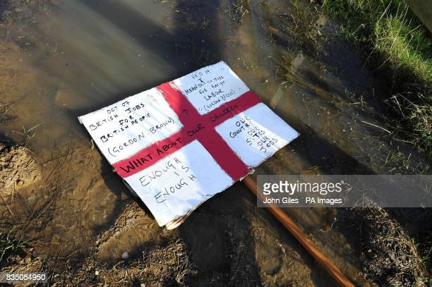 A discarded placard following the demonstration by workers outside the Lindsey Oil Plant at Killingholme in north Lincolnshire continues as union...