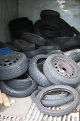 Discarded Rubber Tyres at local recycling center