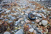 Discarded tire litters a beach, Ireland