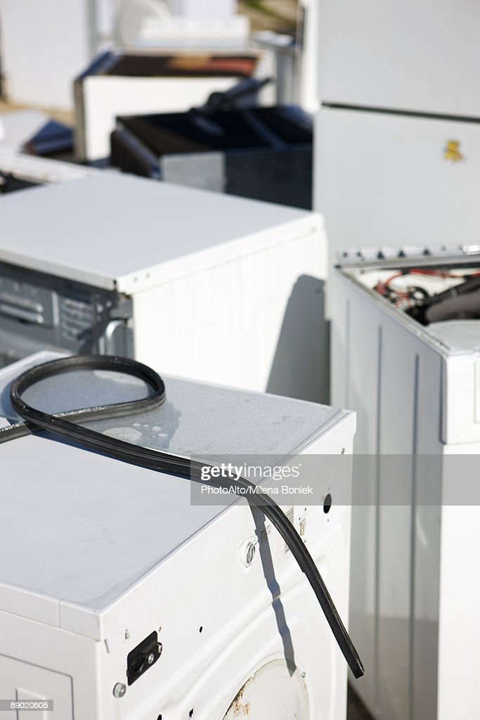 Discarded washing machines, full frame : Stock Photo