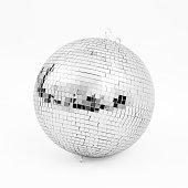 ball disco mirror discoball silver black white background glitter concept - stock image