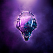 3D illustration of skull shaped disco mirror ball with headphones and shaded glasses