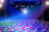 Disco lights background with mirror balls, chrome lattice and shining stars. 3d illustration.