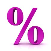 discount sale percentage sign percent symbol interest rate icon pink 3d isolated
