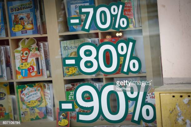 Discounts are seen advertised at a toy shop in Bydgoszcz Poland on 20 August 2017 Mateusz Morawiecki presented figures from the statistical office...