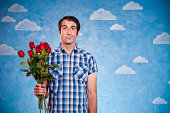 Discouraged Nerd With Roses