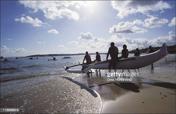 Discover the joys of Polynesian pirogues off Saint Jean de Luz In France In May 2003On Socoa beach
