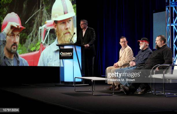 Discovery Channel president and GM Clark Bunting producer Sam Maynard Jack Hoffman and Todd Hoffman speak onstage during the 'Gold Rush Alaska' panel...